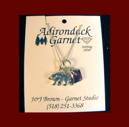 Tumbled Garnet with Bear Charm Necklace