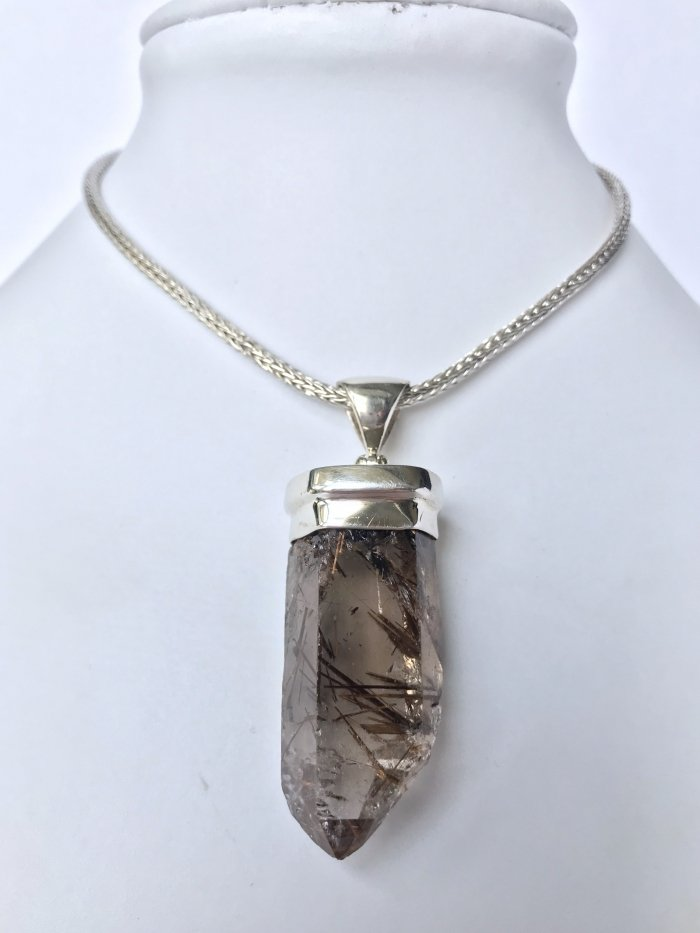 Rutilated Quartz Crystal Necklace
