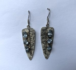 Blue Topaz Arrowhead Earrings
