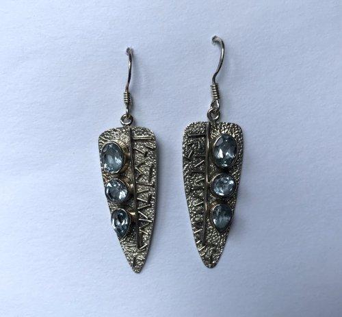 Blue Topaz Arrowhead Earrings
