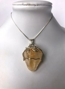 Citrine Wire Wrapped Necklace